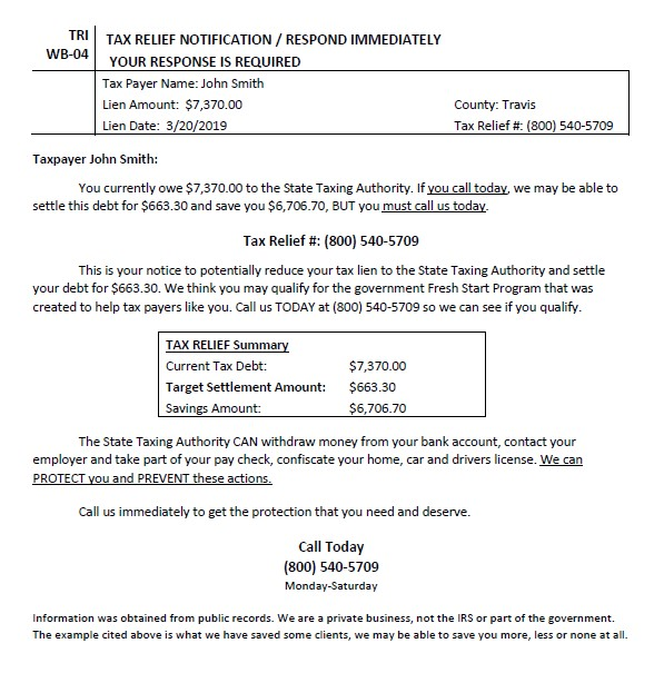 Example of a Tax Relief Notice sent by private company