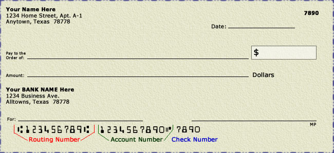 Image Of Bank Check Showing Routing Number And Account At Bottom